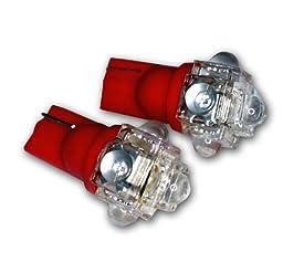 TuningPros LEDCK-T10-R5 Clock LED Light Bulbs T10 Wedge, 5 Flux LED Red 2-pc Set