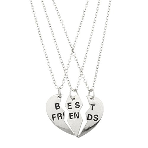 Lux Accessories Best Friends BFF Forever Valentine Heart 3 PC Necklace Set.