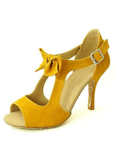 ShangYi Customizable Women's Dance Shoes Latin/Salsa Flocking Customized Heel Yellow/Red Red WbcIZFw6