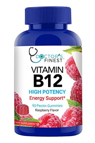 Doctors Finest Vitamin B12 1000 mcg High Potency Gummies - Vegetarian, GMO Free & Gluten Free – Great Tasting Raspberry Flavor Pectin Chews – Adult Dietary Supplement – 90 Count [45 Day Supply]