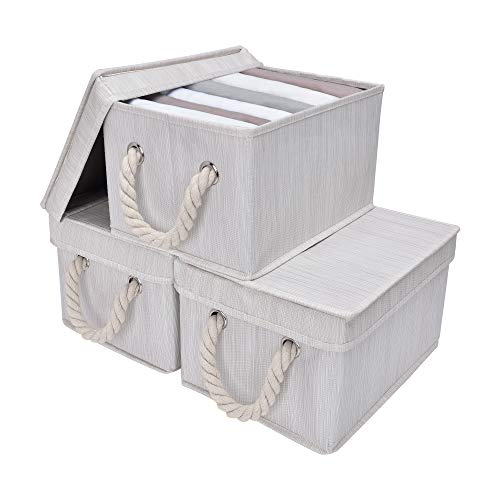 StorageWorks Storage Boxes with Lids, Closet Organizers and Storage Bin with Cotton Rope Handles, Mixing of Beige, White & Ivory, Medium, 3-Pack (With Wicker Lids Bins Storage)