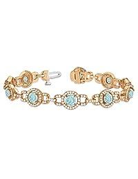 14k Gold Luxury Halo Aquamarine and Diamond Link Bracelet