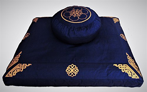 Meditation Cushion Zafu Zabuton Set - Dharma Wheel on Dharma Key Blue