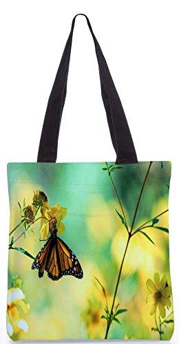 Snoogg Chetah Schmetterling Tragetasche 13,5 X 15 In Einkaufstasche Dienstprogramm Trage Aus Polyester Leinwand