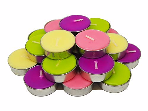 Econteer Decorative Tealight Scented Candle Giftsets with 4 fragrances Jasmine, Cork Tree, Moke, Lotus Ideal for Special Occasions & Holiday Decorations Set of 20 (Attractive) ()