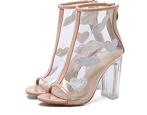 apricot Sandalias YCMDM Botas Pez De tacón Alto Botas Zapatos Transparente Boca Desnudas Con Frescas Con Mujeres Los UUaqT