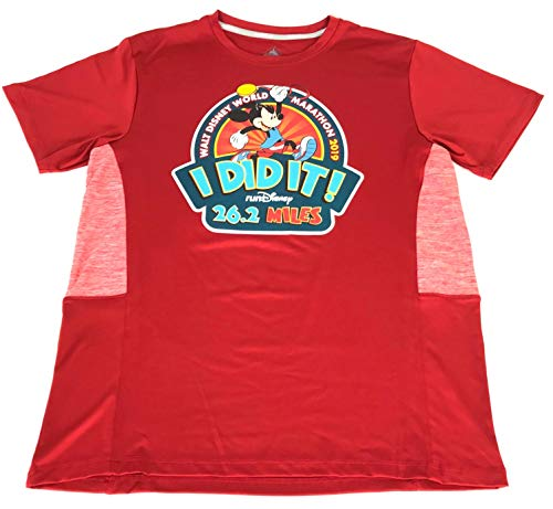 Disney Mickey Marathon 2019 I Did It RunDisney Performance Shirt Mens Red (Large)