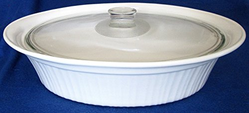 Corning Ware French White Stoneware Large 4 Quart Oval Casserole with Lid