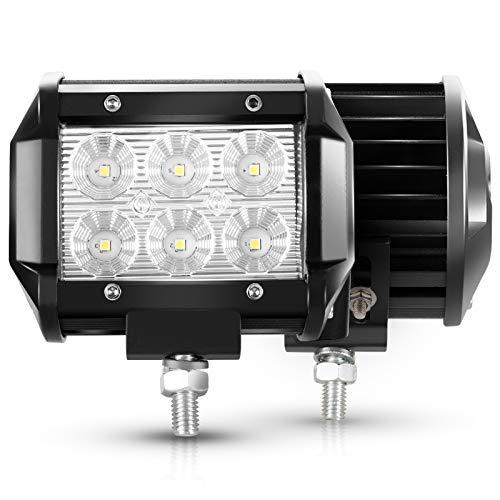 LITE-WAY 2Pcs 4Inch Flood Cree LED Light Bar Offroad Pods Lights 4wd LED Driving Lamp Work Light Bulb Fog Lights for…