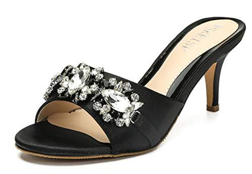 WSKEISP Womens Rhinestone Mule Shoes Kitten Heel Slide Sandal Slip On Open Toe Heeled Sandals Black US7.5 EU39