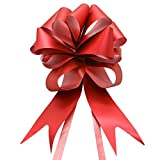 Buorsa 6 Pcs Large Imperial Red Ribbon Pull Bows 7'' Car Bow Giant - Big Red Bow for Wedding, Christmas Gifts, Birthdays, Anniversaries, Graduation, Sweet days