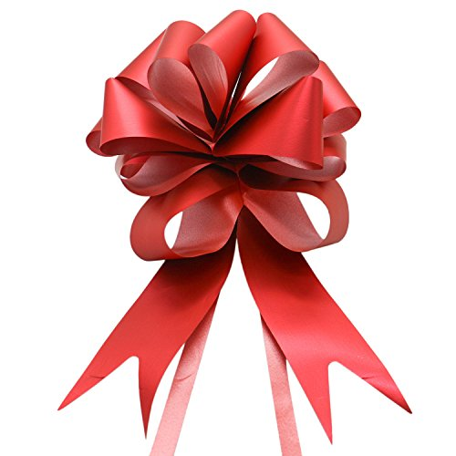 Buorsa 6 Pcs Large Imperial Red Ribbon Pull Bows 7'' Car Bow Giant - Big Red Bow for Wedding, Christmas Gifts, Birthdays, Anniversaries, Graduation, Sweet days by Buorsa