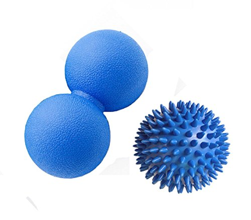 Peanut Double Massage Ball with Spiky Massage Ball for Foot Back Hand Head Body, Plantar Fasciitis Foot Relief, Back Pain, Muscle Knot and Joint Stretching, Yoga, Acupoint Deep Tissue Massage (Peanut Head)