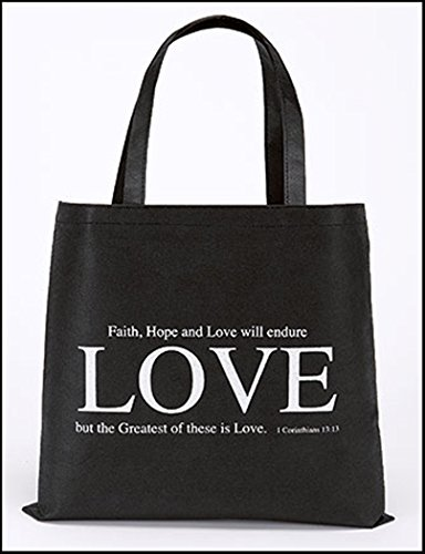 Faith Hope and Love Recycled Nylon Bible Book or Grocery Tote, Black, 14 1/2 Inch