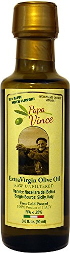 Papa Vince Olive Oil Extra - Virgin Single Estate from our family in Sicily, First Cold Pressed 2016/17, Italy, Unblended, Unfiltered, Unrefined, Robust, Rich in Antioxidant 3 fl oz (Oil Olive Unrefined)