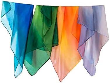 [해외]Sarah`s Silks - Earth Playsilks 100% Real Silk Eco-Friendly Dye 35-Inch Square Silk Play Scarves Set of 4 / Sarah`s Silks - Earth Playsilks 100% Real Silk Eco-Friendly Dye 35-Inch Square Silk Play Scarves Set of 4