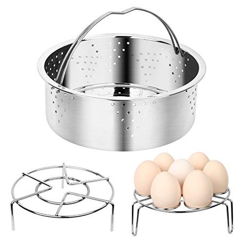 Instant Pot Accessories Vegetable Steamer Basket Set Includes Egg Steamer Trivet and Steamer Rack - Pressure Cooker Accessories( 100% Stainless Steel, Fits 6, 8 qt) (Steamer basket set) (Basket Steamer Set)