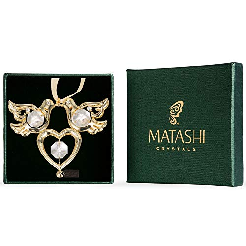 Matashi Crystal Studded Love Doves Birds and Heart Ornamental Gift, Beautiful Love Symbol Gift, for Wedding, Anniversary, Valentines Day, Mothers Day, Birthday and Special Occasions (Gold Plated) (Symbols That Mean Best Friends)