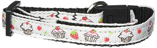 Mirage Pet Products Cupcakes Nylon Ribbon Collar for Cat, White