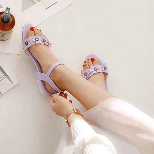 Knöchelriemchen Flach Mädchen Hochzeit Offene Sandale Für Zehen Damen Süß Aisun Kinder Violett qwS0Bp