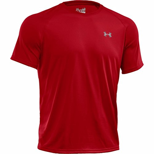Men's UA TechTM Shortsleeve T-Shirt Tops by Under Armour(Red/White, Large)