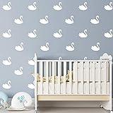JURUOXIN 48 Pcs/Set Swan Wall Decal Vinyl Nursert Duck Stickers Kids Baby Gilrs Bedroom Decoration Art Home Room Decor YMX31 (White)