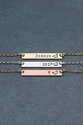 Cheer Squad Bar Jewelry - DII QQQ - Cheerleader Necklace Megaphone Coachs Gift Handstamped Layering Skinny Graduation - 33mm x 5mm - Custom Chain Length - 1 Day -