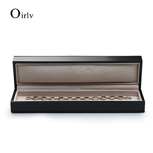 Oirlv Black PU Leather Long chain Necklace Storage Box Jewelry Packaging Gift Box Display Case