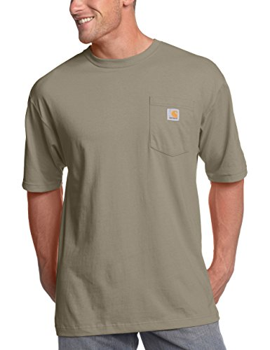 Thing About Crewneck T-shirt - Carhartt Men's K87 Workwear Pocket Short Sleeve T-Shirt (Regular and Big & Tall Sizes), Desert, X-Large/Tall