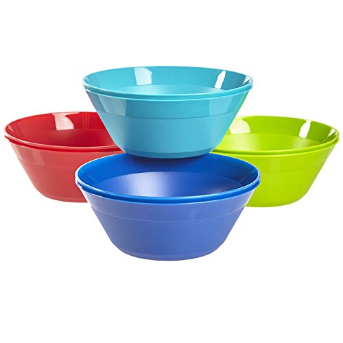 Newport 6-inch Plastic Bowls for Cereal or Salad | set of 8 in 4 Basic Colors best to buy