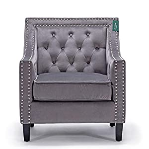 Accent Chair, Morden Fort Sofa Chair for Living Room/Bedroom/Home Decoration (Grey Velet)