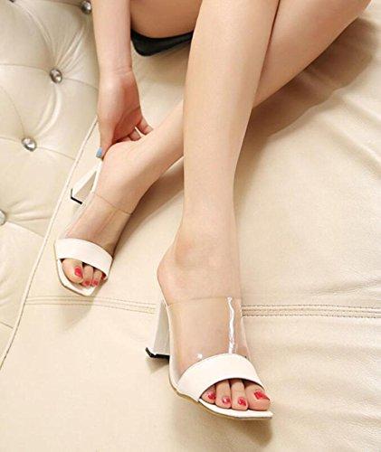 estilo europeo y americano de verano de la nueva manera salvaje gruesas zapatillas de tacón alto frescas con zapatos de tacones altos White