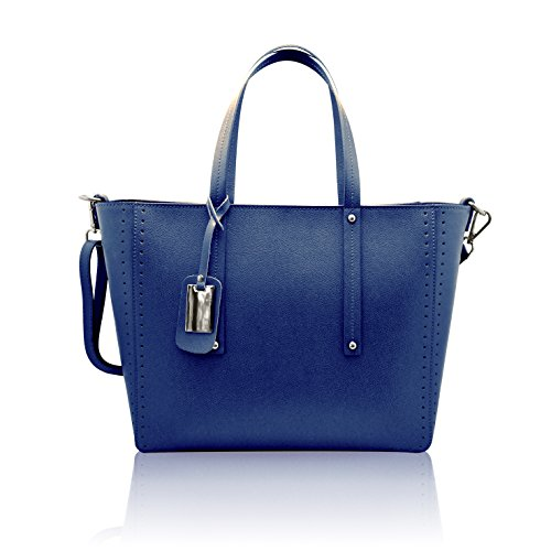 NOEMI Borsa Shopper a spalla in pelle martellata rigida Made in Italy blu