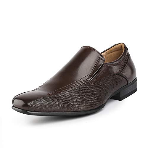 Bruno Marc Men's Dark Brown Slip On Dress Loafers Shoes - 10 M US Gordon-02 -