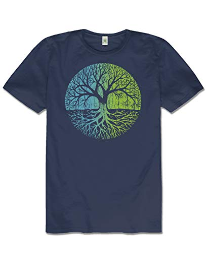 Soul Flower Men's Tree of Life Hemp T-Shirt (Large) Blue (Images Of Trees With Roots And Branches)