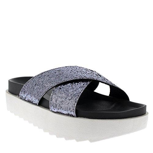 Sandaloi Cinturino Moda Scarpe Strap Estate Incrociato Luccichio Grigio Piattaforma Viva Donna su Scivolare w8ATg
