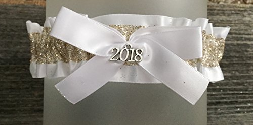 White Gold Prom Garter - White Satin Bridal Garter - 2018 Charm Prom Garters - Gold Glitter by Bella Supply Boutique