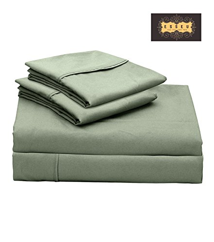 300 Thread Count 100% Cotton Sheet Set, Soft Sateen Weave,Full Sheets, Deep Pockets,Home & Hotel Collection,Luxury Bedding-Bestseller- Super Sale 100% Cotton, Desert Sage by ESSEU (Home Bedding Sale)