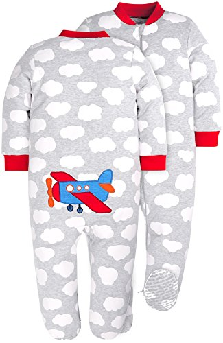 HONGLIN Baby Boys 2-Pack Footed Baby Pajamas Sleepers Rompers 100% Cotton Non-Slipping Sole (Dinosaur+Plane, 12-18 Months) by HONGLIN (Image #2)