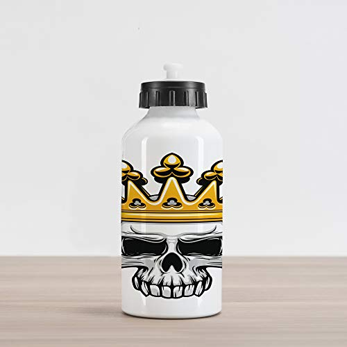 Ambesonne King Aluminum Water Bottle, Hand Drawn Crowned Skull Cranium with Coronet Tiara Halloween Themed Image, Aluminum Insulated Spill-Proof Travel Sports Water Bottle, Orange and Pale Grey ()