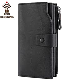 Women's RFID Blocking Large Capacity Luxury Wax Genuine...