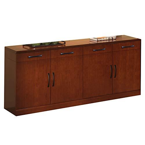 "Mayline SBUFSCR Sorrento Frosted Glass Door Buffet Cabinet 72""W x 22""D x 36""H, 4 Doors, Bourbon Cherry Veneer"