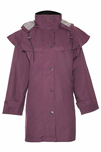 Ladies Riding Coat Long Full Length Waterproof Rain Jacket Cape Country Plum