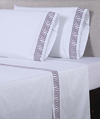 Pillow Embroidered Key Greek - Affluence 600 Thread Count 100% Cotton Embroidered Pillowcase Sets - Greek Key Pattern (King Pillowcase Set, White/Eggplant)