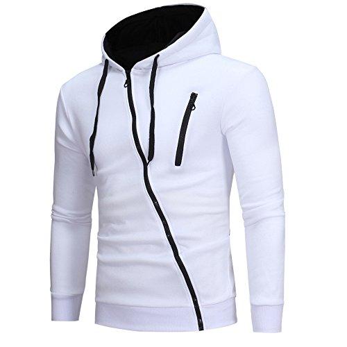 clearance sale!!ZEFOTIM Mens' Long Sleeve Hoodie Hooded Sweatshirt Tops Jacket Coat Outwear(Medium,A-White) ()