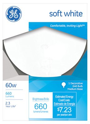 60w Bulb Med (GE Lighting Decorative G40 Globe Bulb 60 W 660 Lumens Med Base 6-15/16 In. White Boxed)