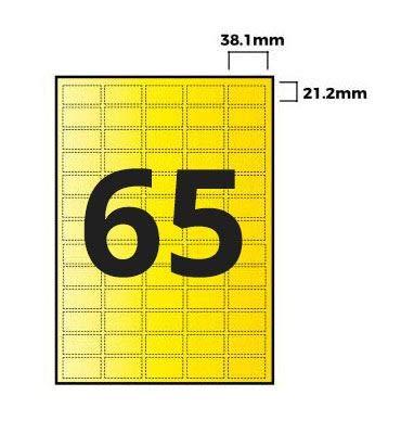 Confezione da 100 Priory Direct Etichette in Carta Gialla Fluorescente Adesivo ad Alta Aderenza per Foglio 65 per Confezione
