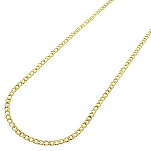 14k Yellow Gold 2mm Hollow Cuban Curb Link Necklace Chain 16'' - 30'' (20) by In Style Designz