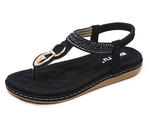 con punta LIANGXIE Sandali sandali strass elastici tacco ZHHZZ punta Nero a a piatta tacco con e FBFX8qrx