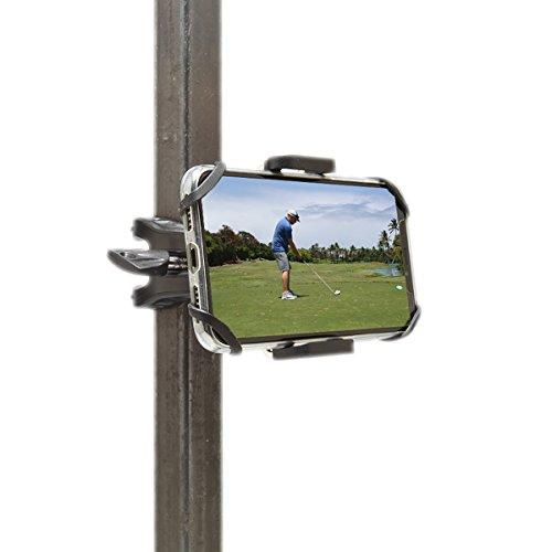 Golf Gadgets - Swing Recording System | Golf Cart or Pull Cart Mount for Smartphone. Compatible with iPhones, Samsung Galaxy, HTC, ANY Phone. (Bar Mount) (Best Golf Carts Inc)